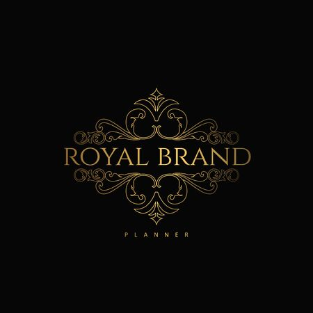 Logo Premium Luxury with Golden Color. Royal Brand for Luxurious Concept, Ornament, Luxury Corporate Identity and Company Profile.