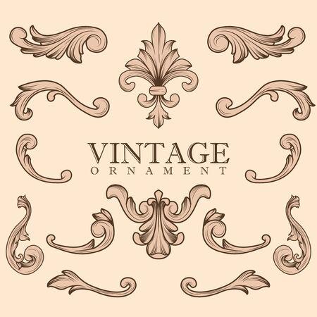 Set of Luxurious Ornament. Vintage Elegant Decoration Design Elements. Flourishes Retro Suitable for Retro  Royal Wedding, Hotel Banner or Invitations.