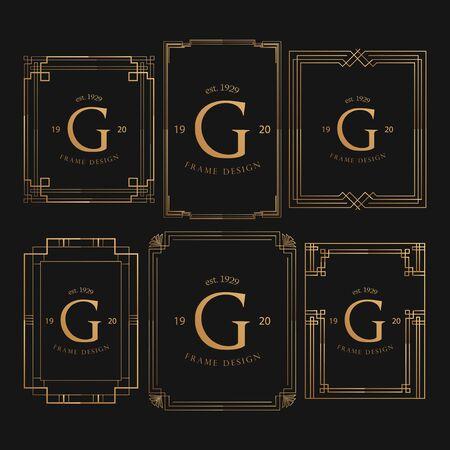 Set Of Golden Frame Luxury. Frame Luxury with Golden Color, Ornament Concept, Luxurious Badges, Gold Label, Retro Concept. Trendy Vintage Royal Ornament Frames Illustration, Good for Hotel Brand. Ilustracje wektorowe