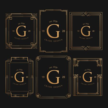 Set Of Golden Frame Luxury. Frame Luxury with Golden Color, Ornament Concept, Luxurious Badges, Gold Label, Retro Concept. Trendy Vintage Royal Ornament Frames Illustration, Good for Hotel Brand. 向量圖像