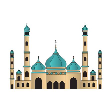 Islamic mosque building illustration with dome. Eastern cultural landmark muslim. vector Vettoriali