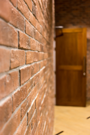 Brick Wall And The Door in House.
