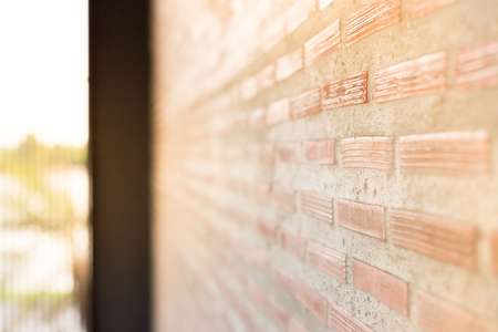 two tone: Brick Wall With Light Sun  Background And Oblique view.