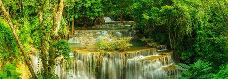 Haui Mae Khamin Waterfall in Kanchanaburi, Thailand,in panorama.