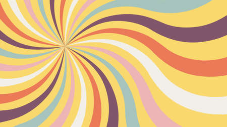 Retro background with color sunburst or starburst. Pattern with vintage color palette, swirl stripes. Vector illustration of 60s. Ilustración de vector