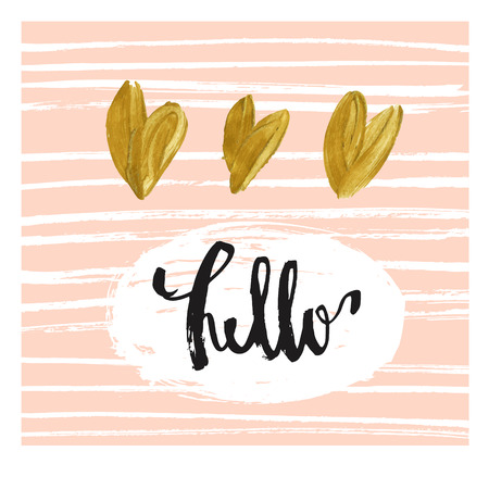moder: Modern greeting card template. Cute design. Speech bubble with lettered message, dots texture background, black, white and pastel cream pink color palette. Gold hearts. Hello with love Illustration