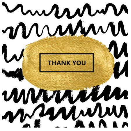 grundge: Black wavy lines drawn with a brush. painted abstract brush strokes in black on white background. Gold texture. Place for text. Invitation, greeting card, poster design templates.