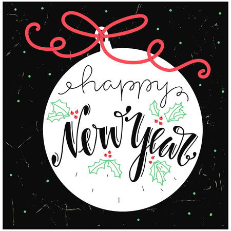 nappy new year: Nappy new year Lettering Design. 2017. Christmas lettering isolated on black background. Vintage Christmas Background With Typography. Happy new year letters on Christmas ball