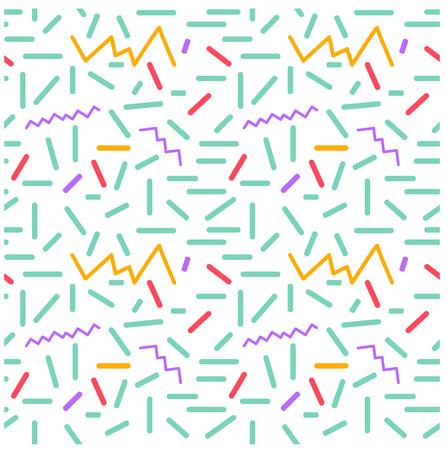 ミニマリズムのシームレスな原始的な幾何学模様。時代 80 年代 - 90 年代年のスタイルをデザインします。幾何学的図形に無造作に散らばっています  イラスト・ベクター素材