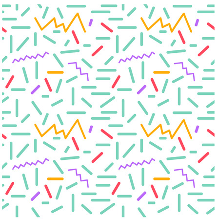 the nineties: Seamless primitive geometric patterns of minimalism. The era 80s - 90s years design style. Randomly scattered geometric shapes. Rectaingel, circles, waves. 1980s 1990s style.