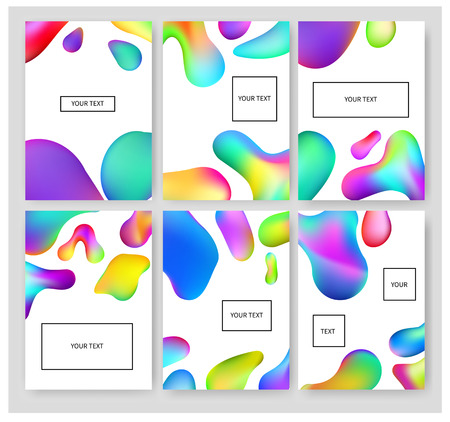 Fluid colors banners set. Cover template with abstract elements for business designs and backgrounds. Abstract fluid colors poster set. Brochure Layout for Annual Report or A4 Booklet.