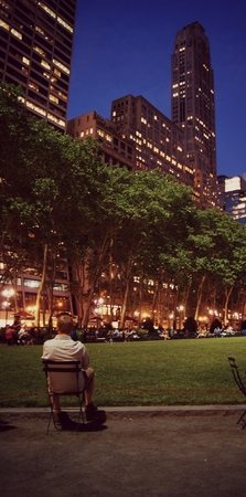 bryant park: alone in Bryant Park NY Editorial