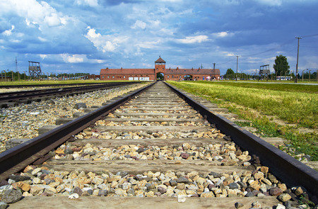 nazism: Main entrance to Auswitch concentration camp, Poland Editorial