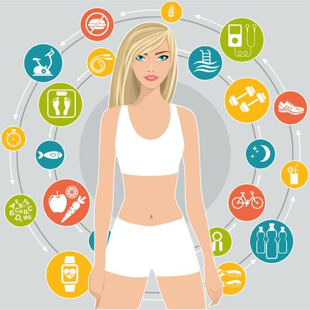 Sport and diet, a set of icons with tips for weight loss, flat illustration