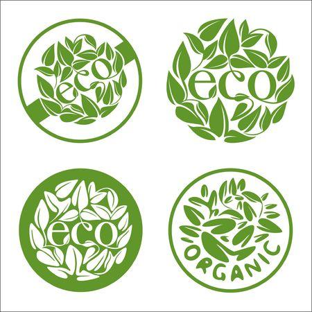 leaf illustration: Ecology and organic icons set. illustration Illustration