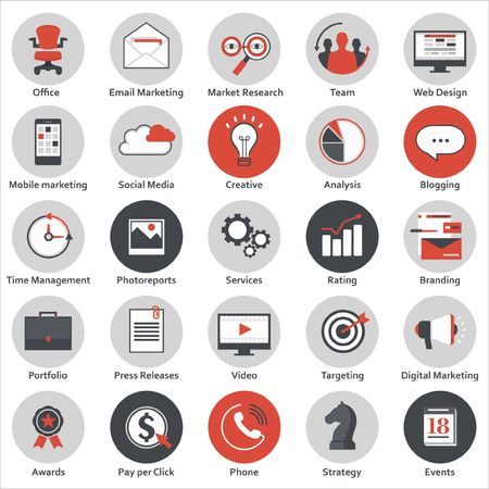 event icon: Set of modern flat design icons for internet marketing, media and business, isolated on white