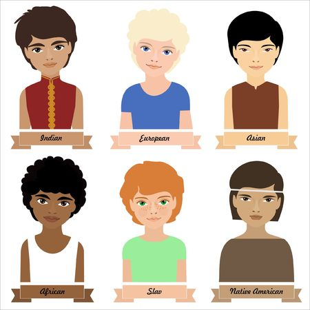red haired girl: Different ethnic group children, girls. Colorful illustration