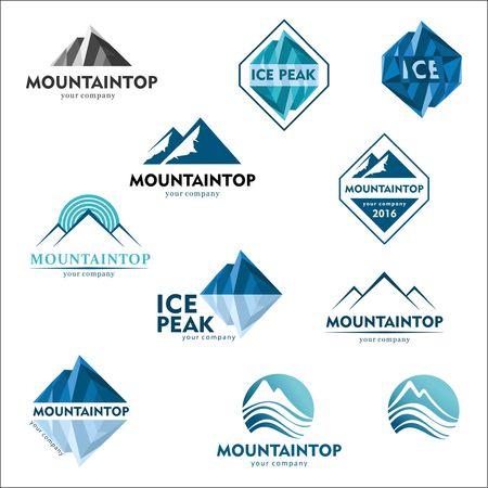 logotipo de la montaña, el diseño del logotipo del vector para los deportes de esquí, turismo, ocio activo