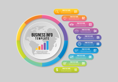 Vector Infographic Design Template with Options Steps and Marketing Icons can be used for info graph, presentations, process, diagrams, annual reports, workflow layout