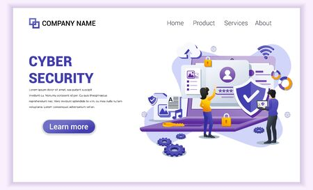 Modern flat design concept of Cyber security with characters check access, protecting data and confidentiality .Can use for banner, mobile app, landing page, web template. Flat vector illustration  イラスト・ベクター素材