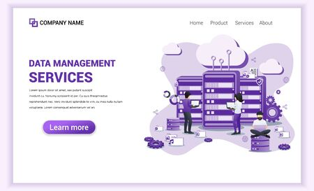 Modern flat design concept of Data Management with Characters works on servers, checking, accessing and manage data. Can use for banner, landing page, web design. Flat vector illustration