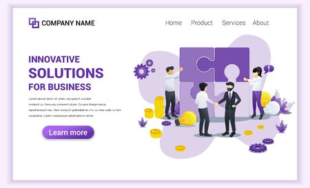 Modern Flat design concept of Business Solutions with Characters composing puzzle and businessman shaking hands. Can use for banner, infographics, landing page, web template. Flat vector illustration
