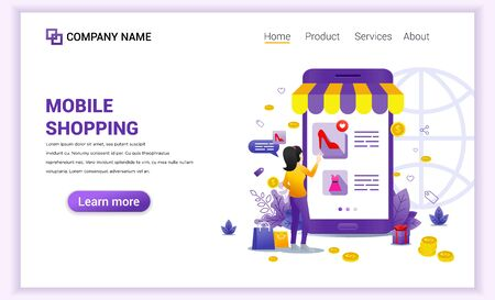 Mobile shopping concept with giant mobile phone displaying store products and woman character. Can use for mobile app, landing page, website design, banner, advertising. Flat vector illustration