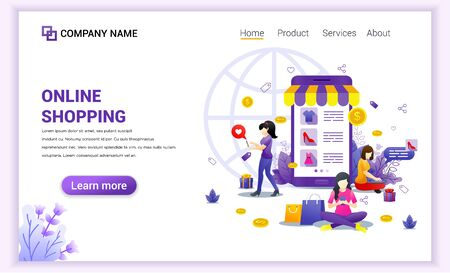 Online shopping concept with giant mobile displaying store products and woman characters. Can use for mobile app template, landing page, web design, banner, advertising. Flat vector illustration
