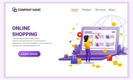 Online shopping concept with giant mobile displaying store products and woman characters. Can use for mobile app template, landing page, web design, banner, advertising. Flat vector illustration Vektoros illusztráció
