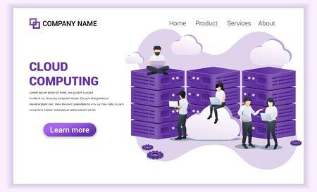 Cloud Computing concept. Digital storage, data center. People working on laptop and giant server. Can used for web banner, landing page, web template. Modern flat vector illustration Ilustração Vetorial
