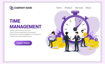 Business management concept, Money saving, Time is money, Save time with Characters. Time management planning. Can use for banner, infographics, landing page, web template. Flat vector illustration 向量圖像