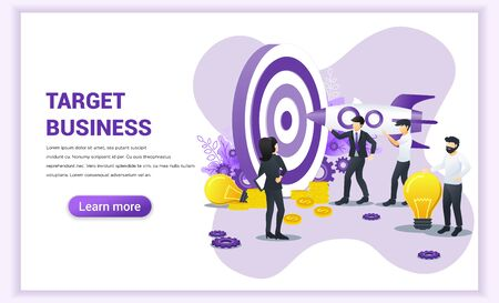 Business concept. People holding a rocket aimed at the target board for reach target business. Hit the target, goal achievement, leadership, partnership. Flat vector illustration