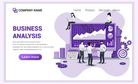 Modern Flat design concept of Business analysis with characters. Auditing, Financial consulting. Can use for web banner, landing page, web template. Flat vector illustration