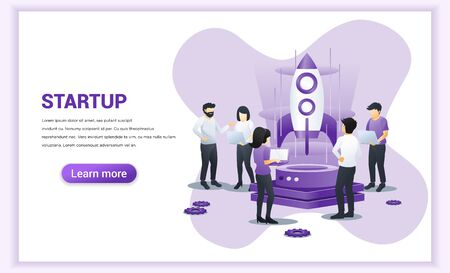 Start up Project concept business development. people working on rocket and getting ready for a launch startup. Can use for web banner, infographics, landing page, web template. Vector illustration
