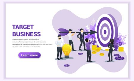 business concept. People working together holding a big dart aimed at the dartboard for reach the target business. Hit the target, goal achievement, leadership, partnership. Flat vector illustration Çizim