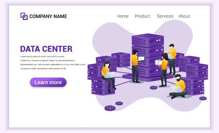 Data center concept with people working on laptop, managing and accessing control data on server . Can used for Web banner, landing page, web template. Modern flat vector illustration Illusztráció