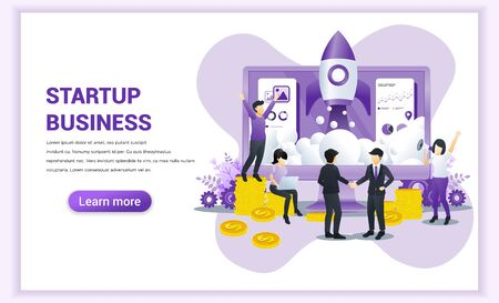 Start up business concept with businessmen came to an agreement and completed the deal with shaking hands. Can use for web banner, infographics, landing page, web template. Vector illustration