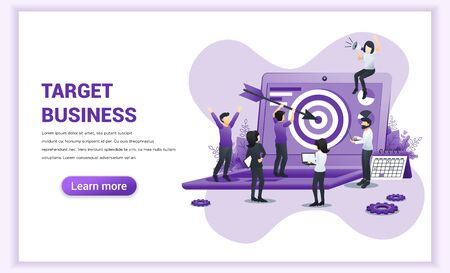 Target business concept design. a man holding an arrow aimed at the target board on giant laptop. Reach the target, goal achievement. Flat vector illustration