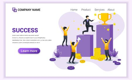Success concept. Businessman climbing and trying to get the golden winner cup. business leader to success. Can used for web banner, infographics, landing page, web template. Flat vector illustration