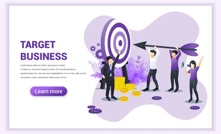 Target business web banner concept design. People holding an arrow aimed at the target board. Hit the target, Business goal achievement. Flat vector illustration Çizim