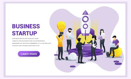 Business Start up project concept. People working on rocket and getting ready for a launch startup. Flat vector illustration Vector Illustratie