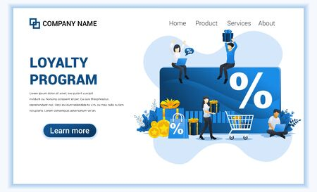 Loyalty program concept with characters. Discount and loyalty card, rewards card points. Can use for landing page web banner, infographics, landing page, web template. Vector illustration