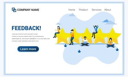 Custumer review rating concept with people near big stars give review rating and feedback via smartphone and laptop. Can use for web banner, landing page, web template. Vector illustration