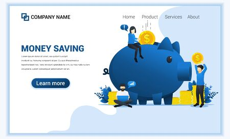 Money saving concept with A Woman sitting and puting money into piggy bank. Can use for web banner, infographics, landing page, web template. Flat vector illustration