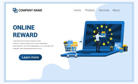 Online reward concept with a woman get a bonus gift. Customer loyalty program and bonus. Can use for landing page web banner, infographics, landing page, web template. Vector illustration