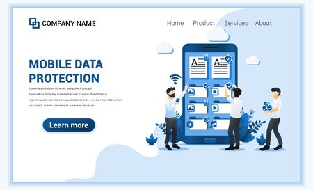 Data Protection concept with people protecting data on giant phone. Can use for web banner, landing page, infographics, web design template. Flat vector illustration 向量圖像