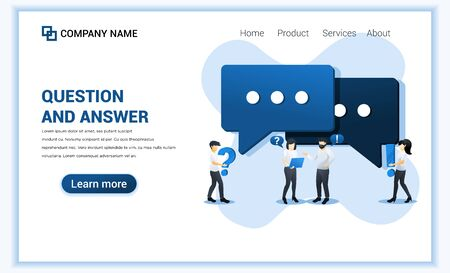 Question and answer concept with people asking to online support center. Can use for web banner, landing page. Modern flat vector illustration