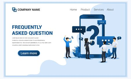 Frequently Asked Question concept with people asking to online support center via mobile phone. Can use for web banner, landing page. Modern flat vector illustration