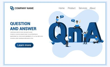 Question and answer concept with people work near big QNA symbol. Can use for web banner, landing page. Modern flat vector illustration