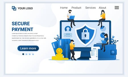 Vector illustration of Secure payment or money transfer concept with characters. Modern flat web landing page template design for website and mobile website. flat cartoon style